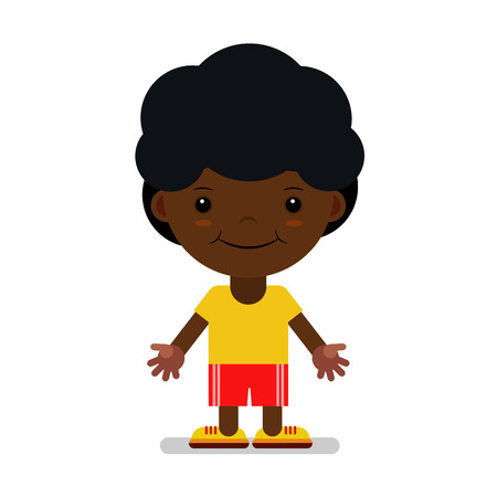 A boy of African nationality in sportswear. Vector illustration. The cartoon.