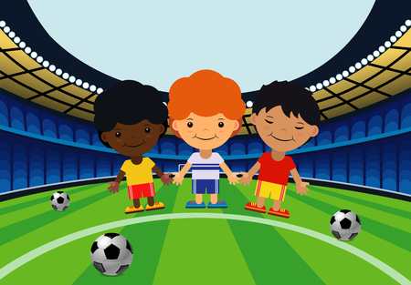 Children in the stadium play football in cartoon illustration. Stok Fotoğraf - 96958905