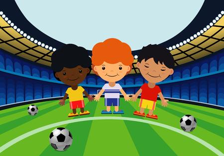 Children in the stadium play football in cartoon illustration. Çizim