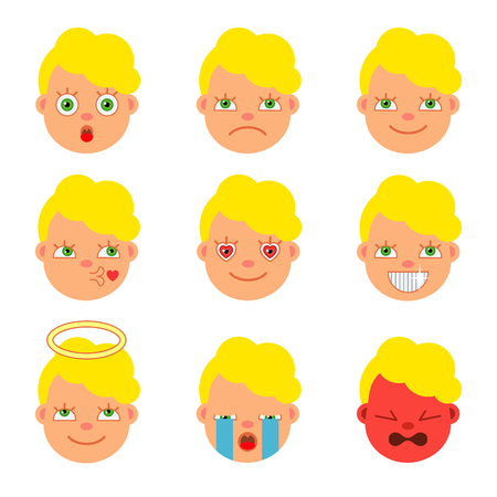 A set of icons for emoticons. Flat style. Cartoon. Vector illustration. Illustration
