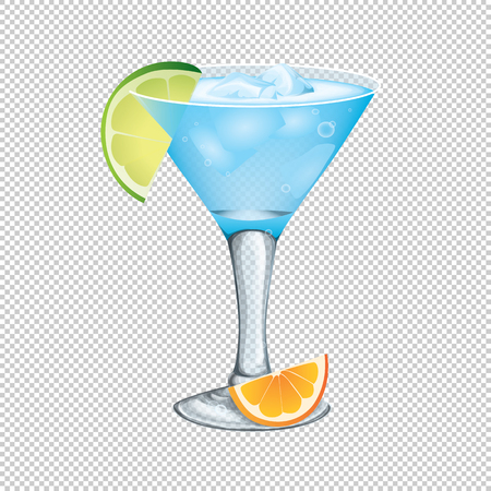 Cocktail with ice and lime slice on a transparent background. Vector illustration.