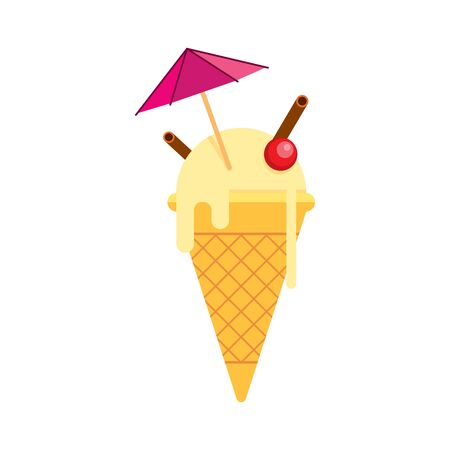 Vanilla ice cream in a tapered cup with an umbrella, cherry, cinnamon. Flat style. Vector illustration. Çizim