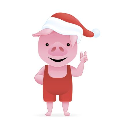 Pink pig in a Santa hat. Cartoon character. Vector illustration. Çizim