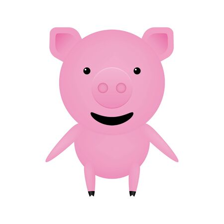 Happy pink pig. Symbol of the year 2019. Character pet. Vector drawing. Cartoon illustration.