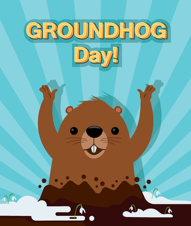 Groundhog Day. Holiday card. Cartoon illustration. A marmot looks out from mink and sees its shadow. Vector graphic.