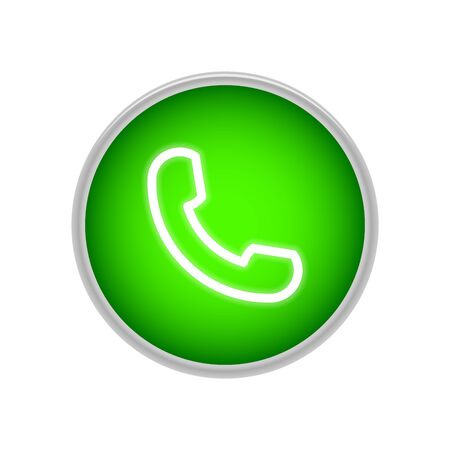 Green handset button for call completion. Element for social networks and messengers. Vector surround drawing. Call up. Illustration. Çizim