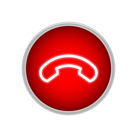 Red handset button for call completion. Element for social networks and messengers. Vector surround drawing. Call off. Illustration.