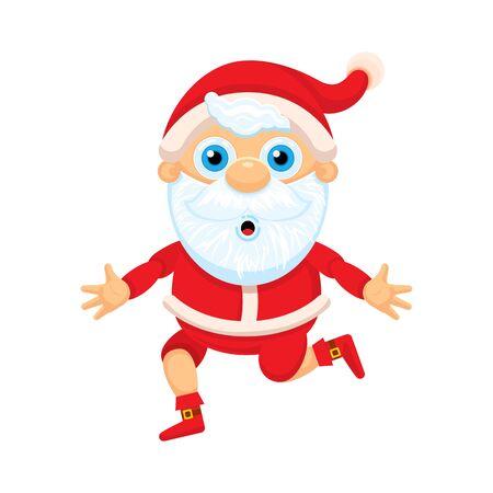 Cute Santa Claus running with hugs. Christmas, children, cartoon character. Vector graphics.  Illustration.
