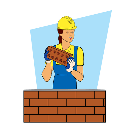 A female builder is working as a bricklayer. Cartoon character design. Color vector illustration. Flat style.
