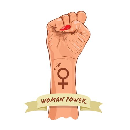 Female power. Womens holiday of womens equality. Feminism. March 8. Vector illustration.