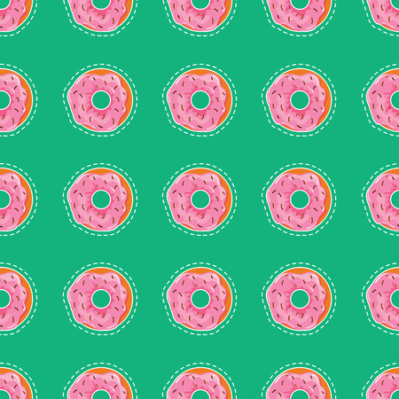 Donuts with pink icing and chocolate decoration. Vector cartoon pattern. Gift paper. Illustration. Çizim