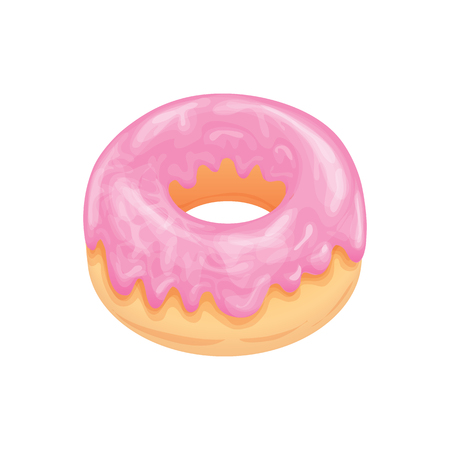 Donut with pink glossy glaze. Appetizing culinary product. Vector drawing by hand. Illustration.