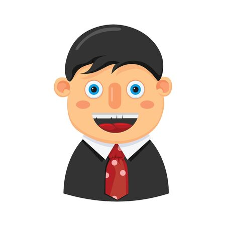 A man in an office suit black. Vector icon of businessman on an isolated background. Illustration. Çizim