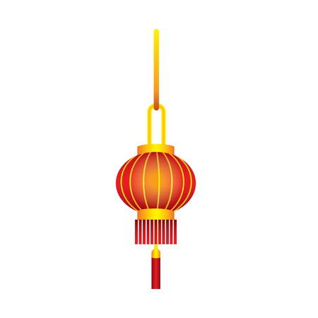 Hanging Chinese paper lantern in red on an isolated background. Sky lattern. Vector illustration.