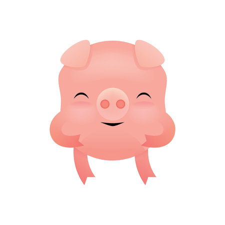 Cute pink pig in a cartoon style. Childrens illustration. Character design Vector drawing. Illustration.