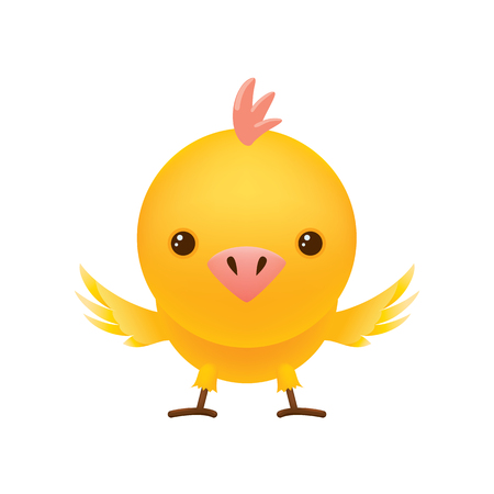 Cute chicken spread its wings. In a cartoon style. Vector character. Illustration.