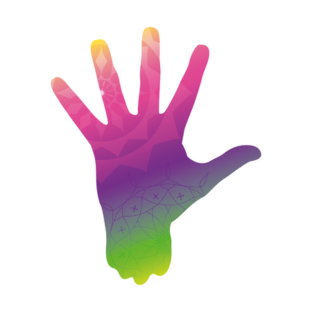 Holi. Colorful rainbow hand in paint with Indian ornaments. Vector illustration.