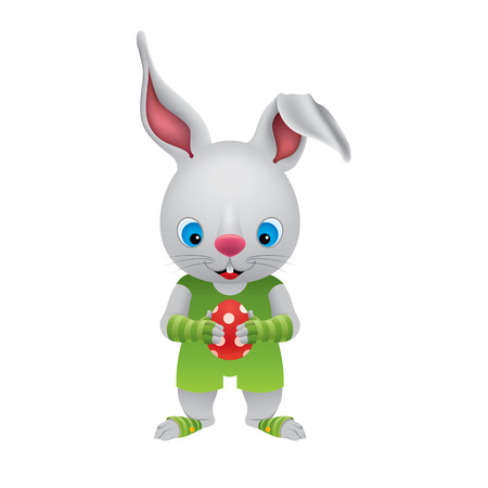 The Easter Bunny holds a red polka dot Easter egg in its paws. Character design in a cartoon style. Vector illustration.