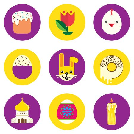 Set of easter icons. Round shape, colored in flat style with Easter symbols. Vector illustration. Çizim