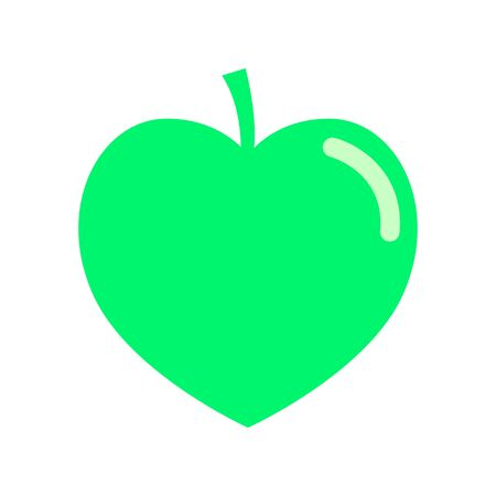 The apple is in the form of a heart with a green flare. Juicy fruit for proper nutrition, healthy lifestyle and diets. Flat style. Vector icon. Illustration.