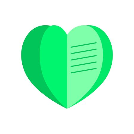 Notebook in the form of a heart green. Flat style. Vector. Illustration. Çizim