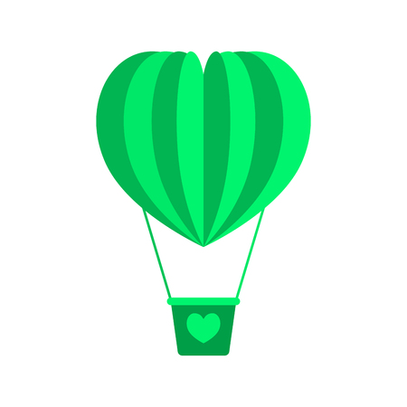 Balloon vehicle icon with a heart in green. Flat style. Vector. Illustration.