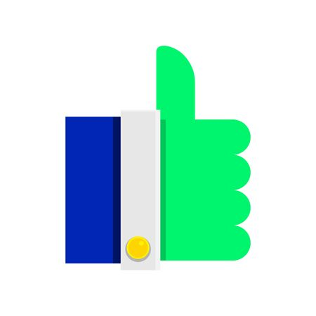 Icon finger up acid green color. Pictogram in flat style. Vector. Illustration.