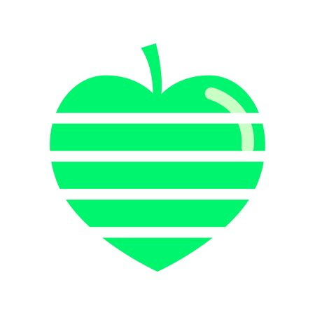 Icon striped green apple in the shape of a heart with a flare. Vector emblem in flat style. Illustration. Çizim