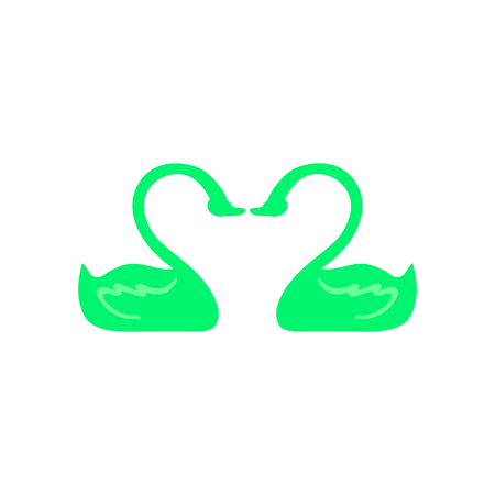Icon of two swans in love. It is executed in acid-green color. Flat style. Vector. Illustration.