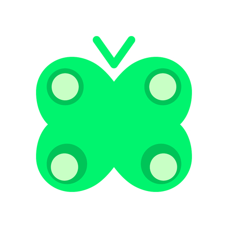 Icon of green acid butterfly. Emblem in flat style. Vector. Illustration.