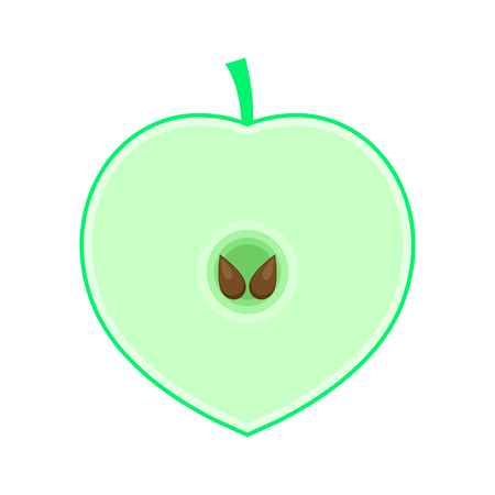 Green icon half an apple with seeds. Emblem of health and healthy lifestyle. Flat style. Vector. Illustration.