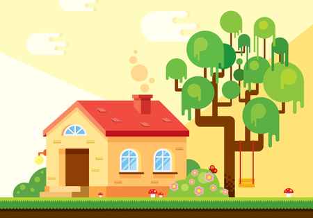 Exterior background location in warm summer tones, which includes a house, a tree, flowering bushes, a lawn with red mushrooms and clouds. Vector illustration in flat style for game.