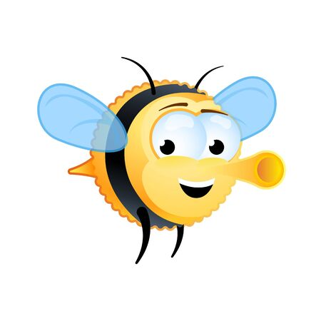Cute fat bee flies with a smile on his face. Cartoon character. Vector drawing. Clip-art. Illustration.