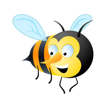 Character. Cute bee flies smiling. Vector drawing in cartoon style. Clip-art. Illustration.