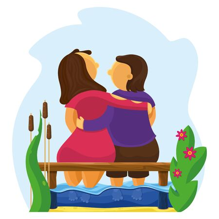 Character. Lovers hug on the pier. Feet lowered into the sea. Around flowers and reeds. Friendship and love between a woman and a man. Color illustration in flat style. Vector. Çizim