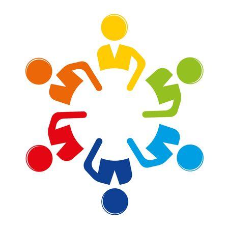 Personale di lavoro di squadra alla tavola rotonda. Incontro amichevole. Vettore di riunione. Icona di affari. Illustrazione. Vettoriali