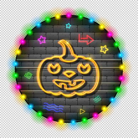 Pumpkin. Neon garland on a brick gray wall. Around bright bulbs and glowing elements. Retro. Illumination night for the holiday Halloween. Vector. Illustration.