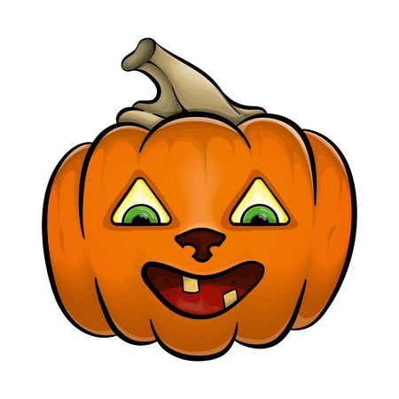 Halloween. Pumpkin with a kind sweet smile. In cartoon style. Çizim