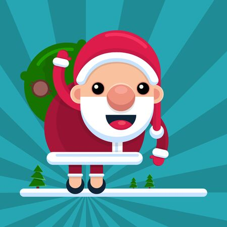 Santa Claus waves his hand with a bag on his back, on a striped background. Character in cartoon style. Vector.