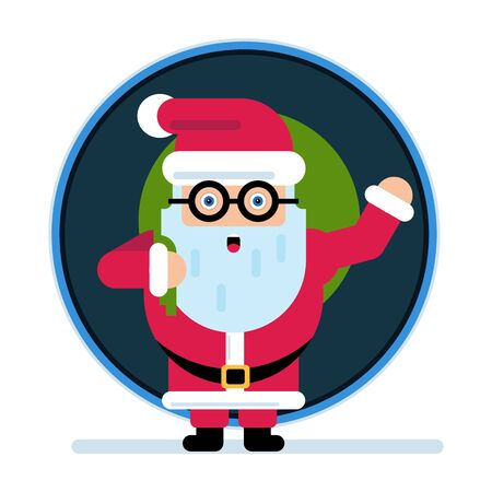 Santa Claus with a bag of gifts. Merry Christmas and Happy New Year.