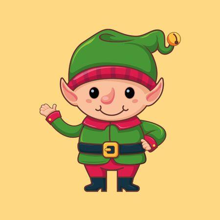 Elf. Santas helper. Christmas character in a flat style. Vector illustration. Art.