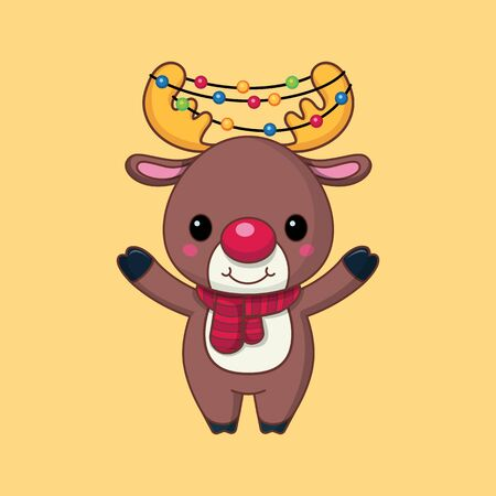 Santas deer. The horns are entwined with a New Years holy garland. Christmas character. Flat style. Vector illustration. Cartoon. Art. Çizim