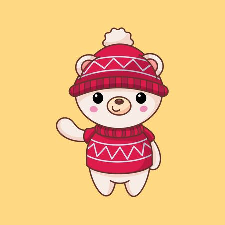White bear in a red hat and sweater. New Year cartoon character. Flat style. Vector illustration. Art.
