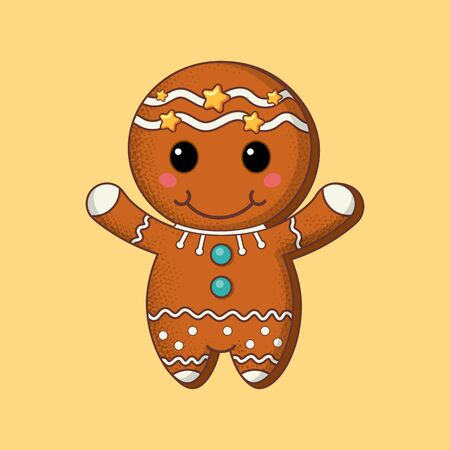 Cookie. Christmas biscuit character. Cartoon. Flat style. Vector illustration. Art. Çizim