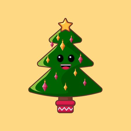Christmas tree. Cartoon character in a flat style. Vector illustration. Art.