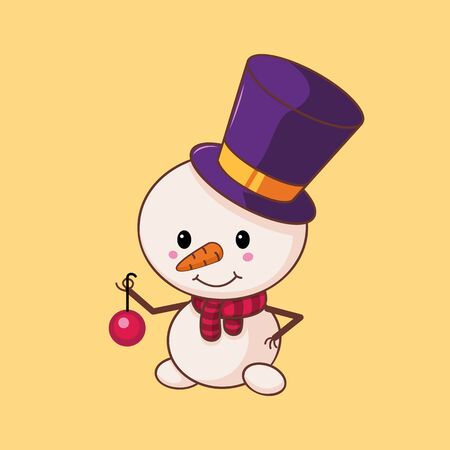 Snowman in a top hat and scarf holds a Christmas ball. Christmas character in a flat style. Vector illustration. Cartoon. Art. Çizim