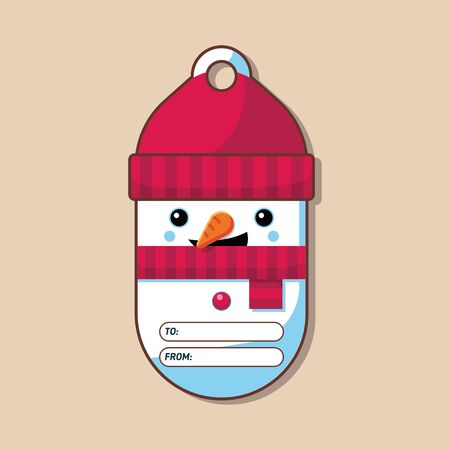 Snowman. Tag for present. Christmas character. Vector illustration. Flat style. Art.