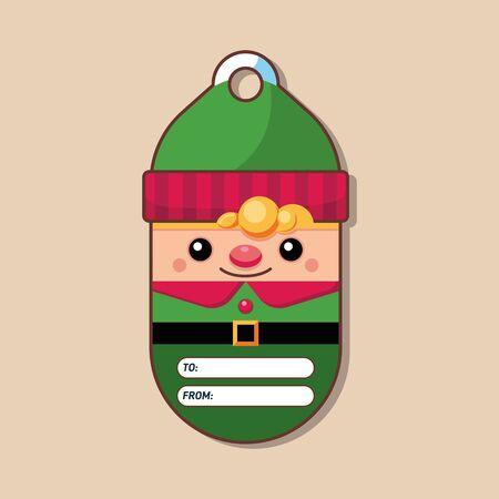 Elf. Gift tag. Christmas character. Vector illustration. Flat style. Art.