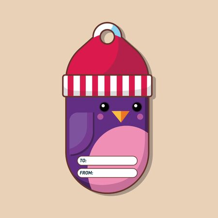 Penguin. Name tag for a gift. Christmas character. Flat style. Vector illustration. Art.