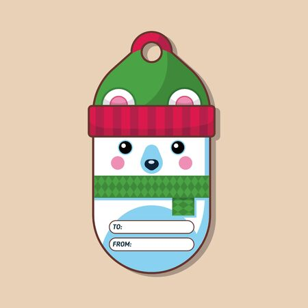 Polar bear. Name tag for a gift. Christmas character in a flat style. Vector illustration. Art.